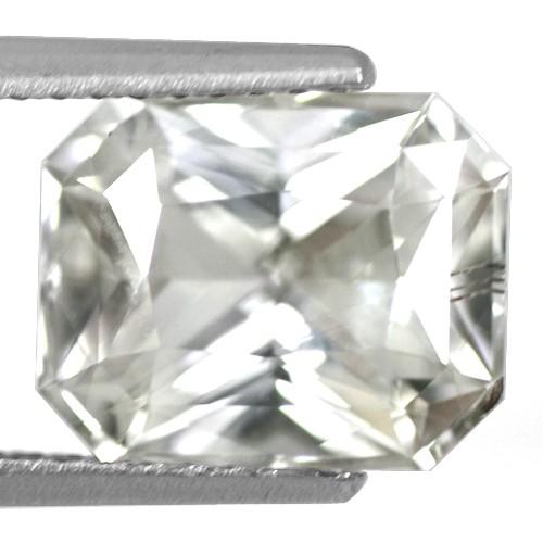3.42 Cts Natural White Sapphire Gemstone Emerald Cut Certified Unheated