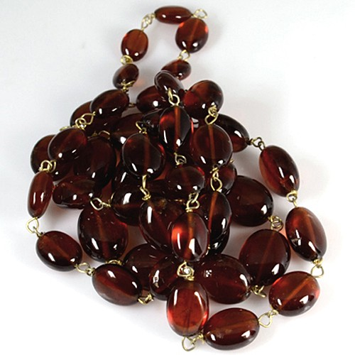 Natural Hessonite Garnet Plain Oval Loose Beads with 92.5 Silver gold Plated 23