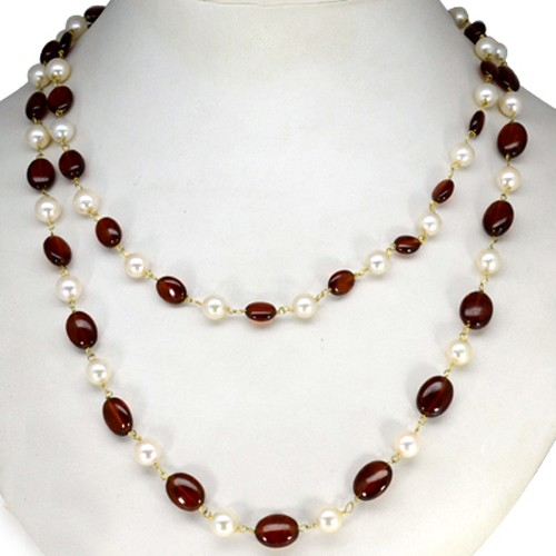 Natural Hessonite Garnet Pearl Oval Rondelle Loose Beads Necklace 92.5 Silver