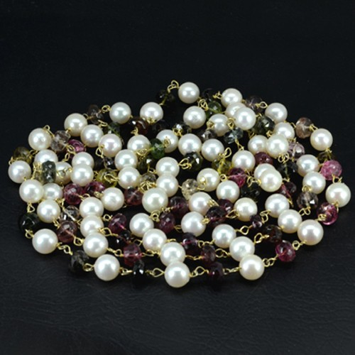 Natural Tourmaline Pearl Plain Rondelle Beads with 92.5 Silver gold Plated 47""