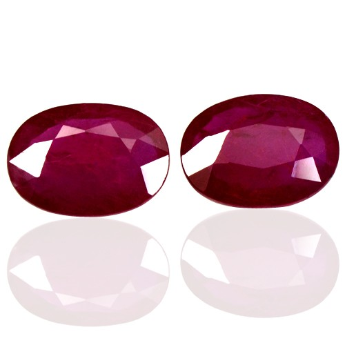 2.39 Cts Natural Top Red Ruby Gemstone Oval Cut Winza Tanzania Pair 8x6 mm Rare