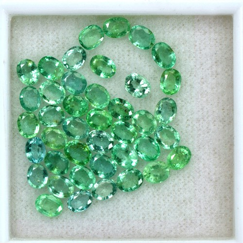 13.25 Cts Natural Top Green Emerald Rare OvalCut Lot Zambia Untreated 5x4 mm
