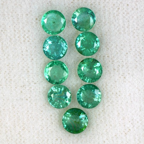4.76 Cts Natural Top Green Emerald Round Cut Lot Zambia Untreated Loose Gemstone