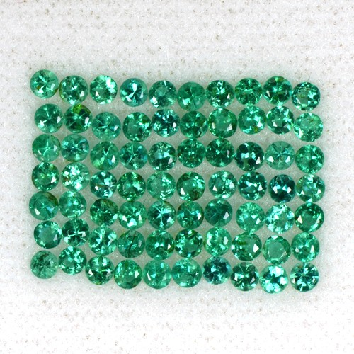 3.04 Cts Natural Top Green Emerald Diamond Cut Round Lot Zambia Untreated 2 mm