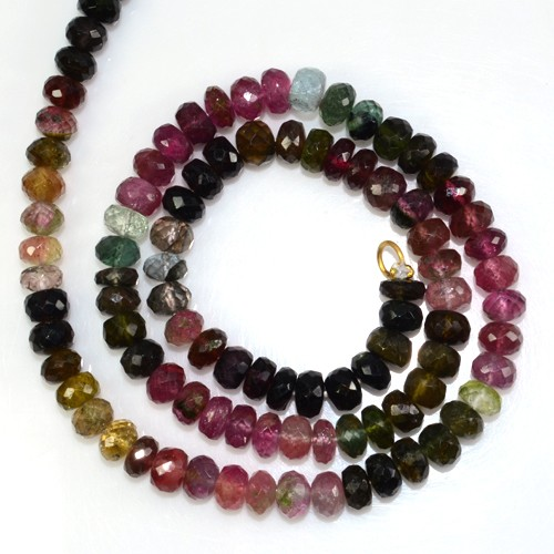 117.14 Cts Natural Top Multicolor Tourmaline Faceted Rondelle Beads Necklace 1-L