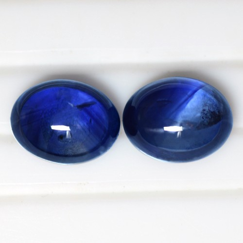 5.93 Cts Natural Top Royal Blue Sapphire Oval Cabochon Pair Ceylon 9x7 mm Loose