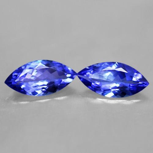 3.80 Cts Natural AAA+ D Block Blue Tanzanite Marquise Cut Pair Tanzania Gemstone