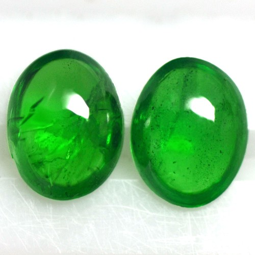 2.70 Cts Natural Top Green Tsavorite Loose Gemstone Oval Cab Pair 2 pcs Kenya