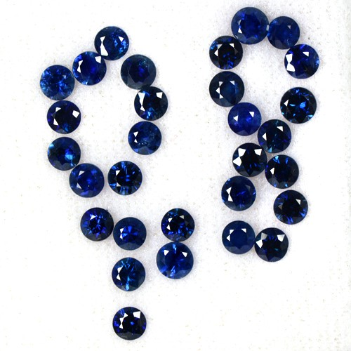 7.87 Cts Natural Top Blue Sapphire Gemstone Round Cut Lot 30 pcs Thailand 4 mm