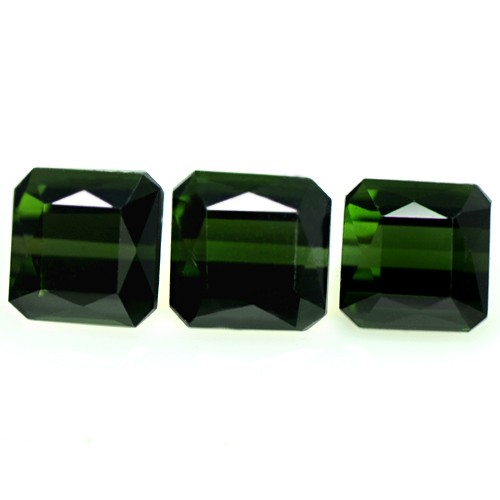 4.38 Cts Natural Top Deep Green Tourmaline Gemstone Octagon Cut Set 3 pcs Brazil