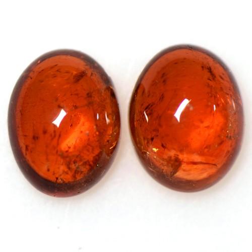 4.08 Cts Natural Fanta Orange Mandarin Spessartite Garnet Oval Cab Pair Namibia