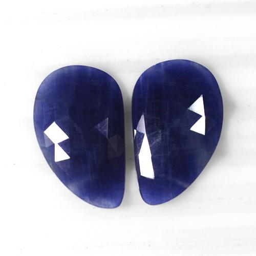 24.33 Cts Natural Top Blue Sapphire Loose Gemstone Rose Cut Fancy Pear Pair Unheated Madagascar