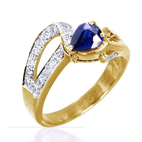 18k Pure Yellow Gold Natural Top Sapphire Diamond Ladies Wedding Cocktail Ring