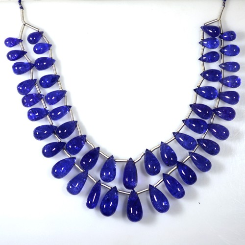 219.50 Cts Natural AAA+ D-Block Blue Tanzanite Plain Drops Beads Layout Gems 2-L