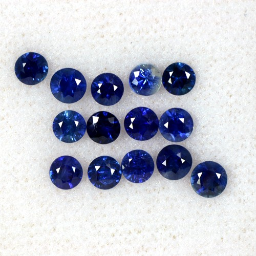 2.80 Cts Natural Top Blue Sapphire Round Cut Lot Loose Gems Oldmogok 3.3-3.7 mm