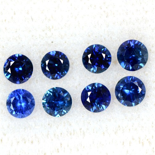 2.19 Cts Natural Blue Sapphire Loose Gems Round Cut Lot 8 pcs Oldmogok 3.7-4mm