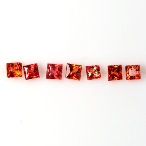 0.97 Cts Natural Gorgeous Red Sapphire Gems Square Cut Lot Oldmogok 2.4-2.6 mm
