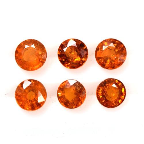 4.02 Cts Fanta Orange Mandarin Spessartite Garnet Round Cut Lot Namibia 5 mm