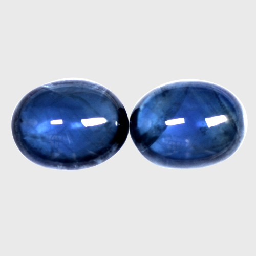 5.14 Cts Natural Lustrous Royal Blue Sapphire Oval Cabochon Pair Thailand 9x7 mm