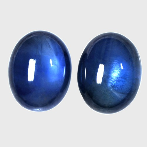 5.91 Cts Real Full Luster Royal Blue Sapphire Oval Cabochon Pair Thailand 9x7mm
