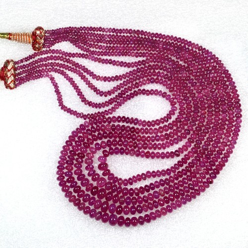 297.79 Cts Real Certified Unheated Top Pink Red Ruby Beads Necklace Unheated 15""