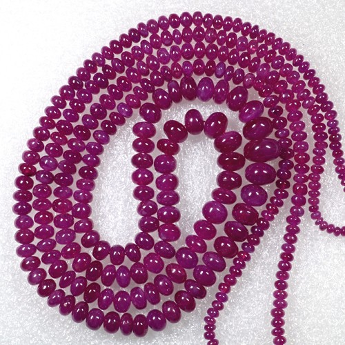346.99 Cts Natural Top Pink Red Ruby Beads Necklace Round Cabochon Johnson 2L