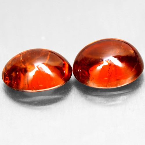 4.35 Cts Natural Orange Mandarin Spessartite Garnet Oval Cab Pair Namibia 8x6mm