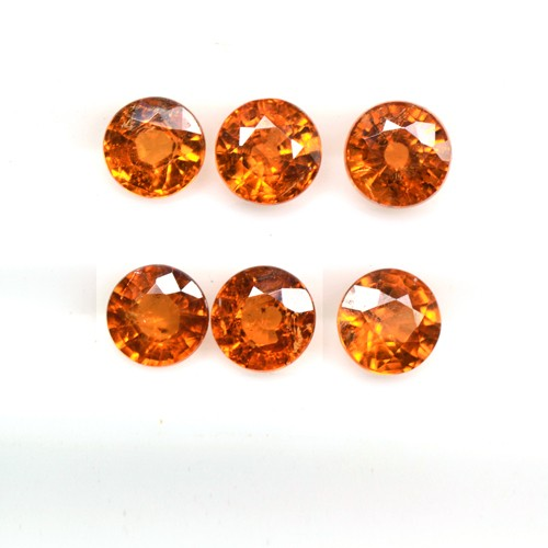 2.56 Cts Natural Lustrous Fanta Orange Spessartite Garnet Round Lot Unheated 4mm