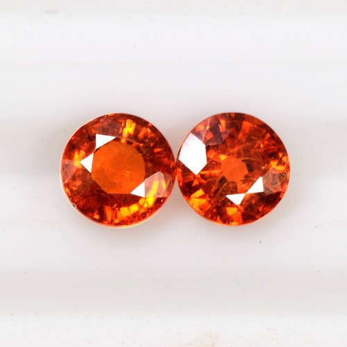 1.17 Cts Natural Lustrous Fanta Orange Spessasrtite Garnet Round Cut Pair 4.5 mm