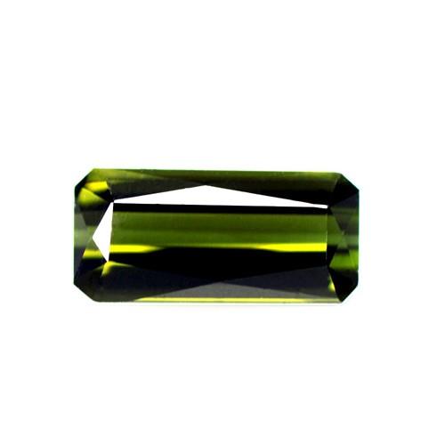 1.29 Cts Natural Lustrous Top Olive Green Tourmaline Corner Cut Buguette Brazil
