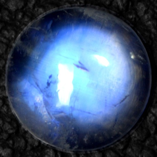 4.81 Cts Natural Blue Fire Rainbow Moonstone Round Cabochon 11mm Indo-Bihar