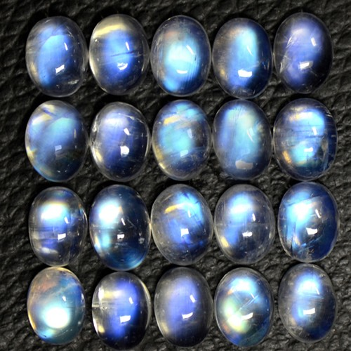 33.86 Cts Natural Lustrous Blue Fire Rainbow Moonstone Oval Lot 8x6mm Indo-Bihar