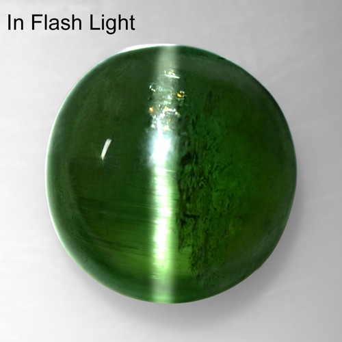 7.37 Cts Natural Lustrous Sharp Green Tourmaline Cats Eye Round Cabochon 11 mm