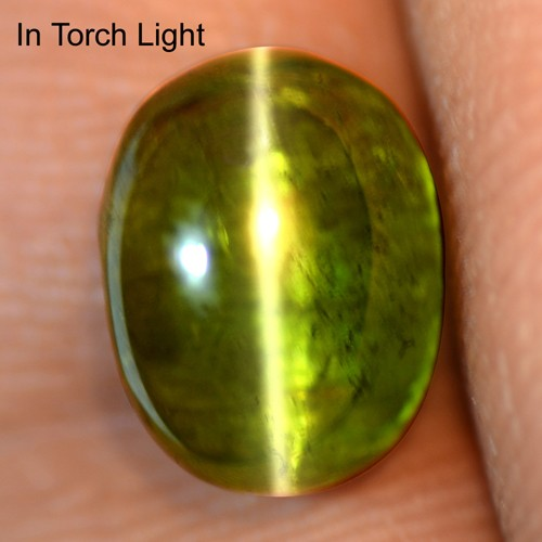 4.75 Cts Natural Lustrous Sharp Olive Green Tourmaline Cats Eye Oval Cab Brazil