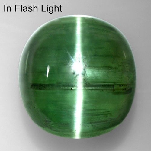 6.20 Cts Natural Lustrous Sharp Green Tourmaline Cats Eye Fancy Round Cab Brazil