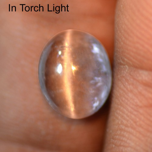 6.34 Cts Natural Lustrous Sharp Light Rose Pink Tourmaline Cats Eye Oval Cab