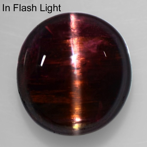 10.03 Cts Natural Lustrous Sharp Deep Raspberry Pink Tourmaline Cats Eye Round