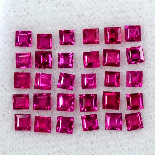 3.99 Cts Natural Lustrous Top Ruby Square Cut Lot Finest Loose Gemstone Oldmogok