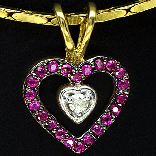 9k Pure Yellow Gold Natural Red Ruby Gemstone Diamond Pendant With Chain