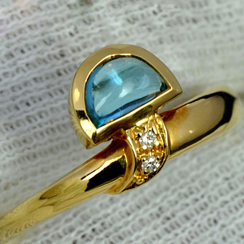 18K Pure Yellow Gold Natural Blue Topaz Diamond Ladies Wedding cocktail Ring