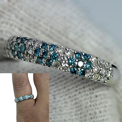 Platinum 900 Natural Blue & White Diamond Wedding Designer Fine Jewelry Ring