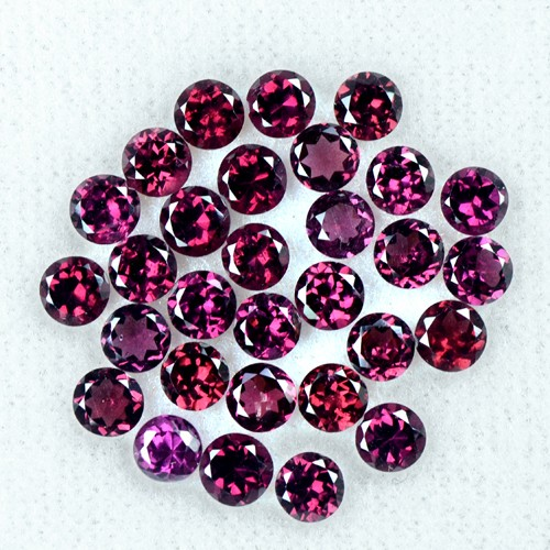 9.60 Cts Natural Top Rhodolite Garnet Round Cut Lot Madagascar Gemstone 4 mm