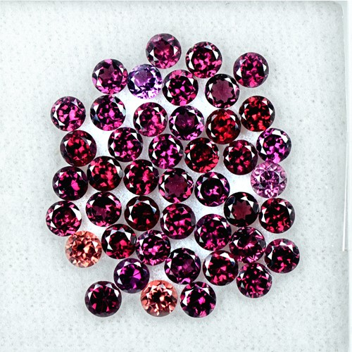 13.88 Cts Natural Top Rhodolite Garnet Round Cut Lot Madagascar Gemstone 4 mm