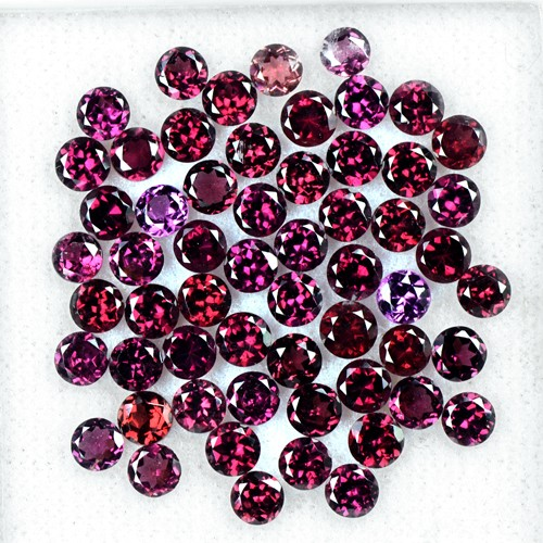 18.50 Cts Natural Top Rhodolite Garnet Round Cut Lot Madagascar Gemstone 4 mm