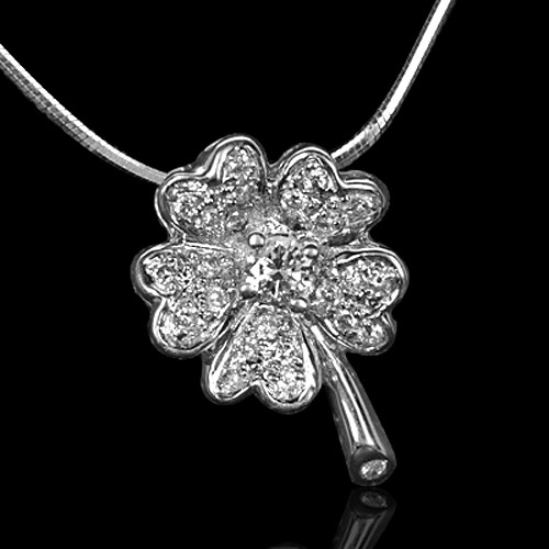 18k Pure White Gold Natural Top Diamond Ladies Pendant With Chain