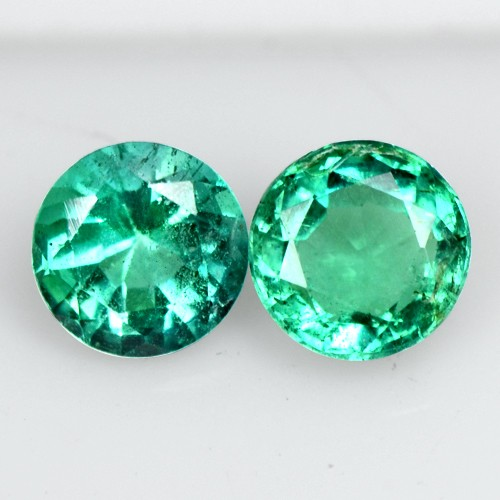 0.55 Cts Natural Emerald Green Loose Untreated Gemstone Round pair Zambia 4 mm