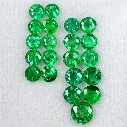 6.77 Cts Natural Green Rich Emerald Round Cut Lot Zambia Untreated 21 Pcs Loose