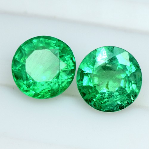 1.64 Cts Natural Emerald Green Untreated Top Gemstone Round Cut pair Zambia 6 mm