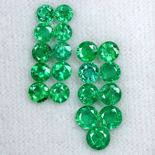 5.32 Cts Natural Fine Emerald Untreated Gemstone Round Cut 3.8 upto 4.6 mm Zambia
