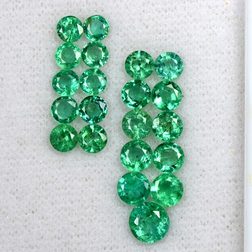 5.66 Cts Natural Fine Emerald Untreated Gemstone Round Cut 3.7 upto 5.7 mm Zambia